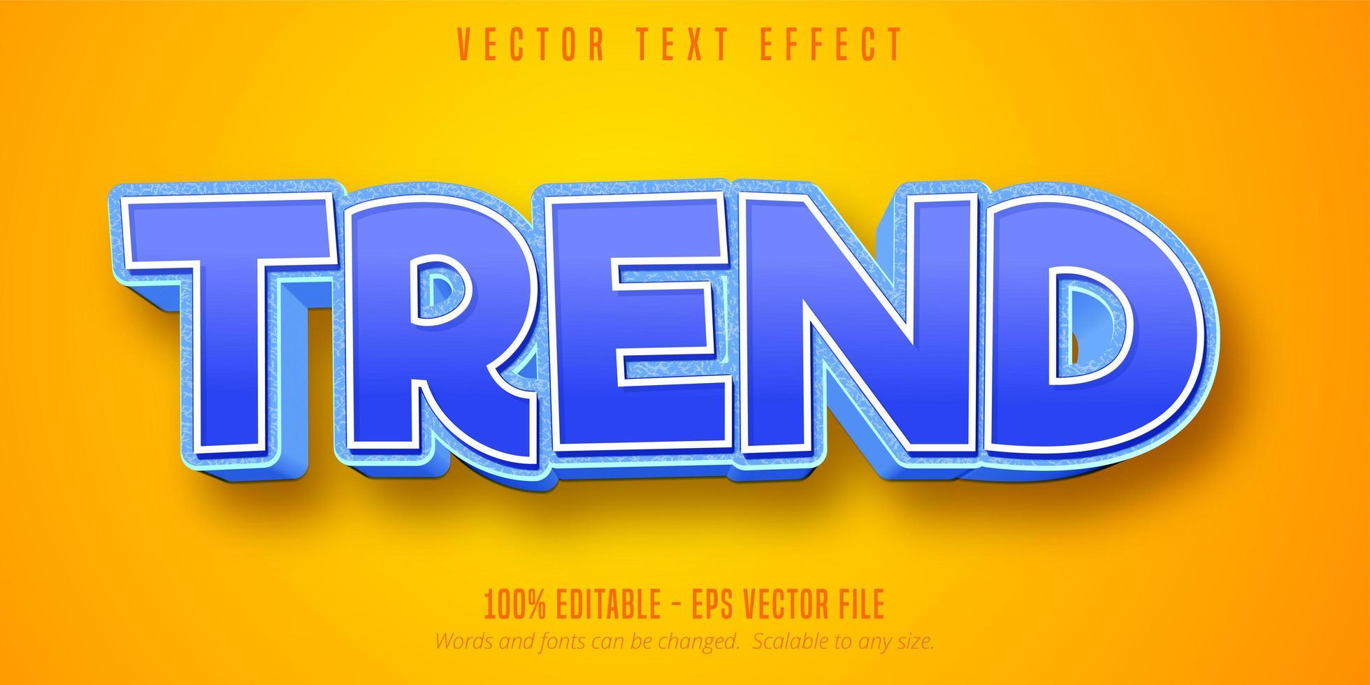 texte de tendance bleu et blanc, effet de texte de style dessin animé vecteur