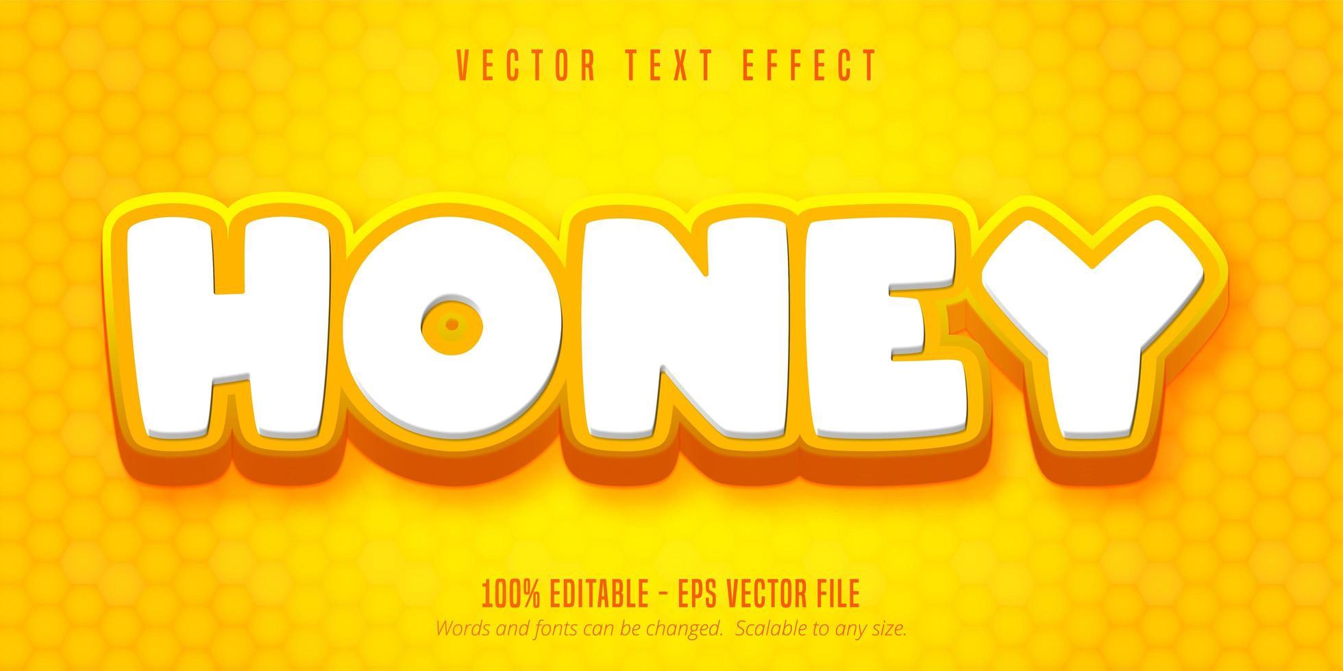 texte de miel, effet de texte de style dessin animé vecteur