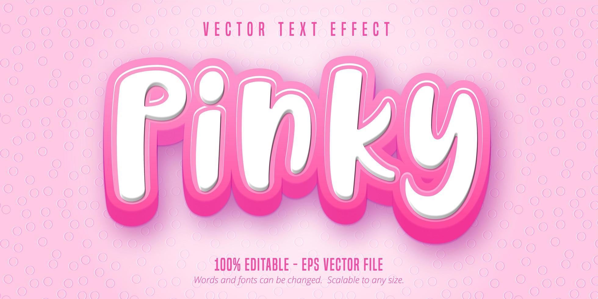 texte pinky, effet de texte de style dessin animé vecteur