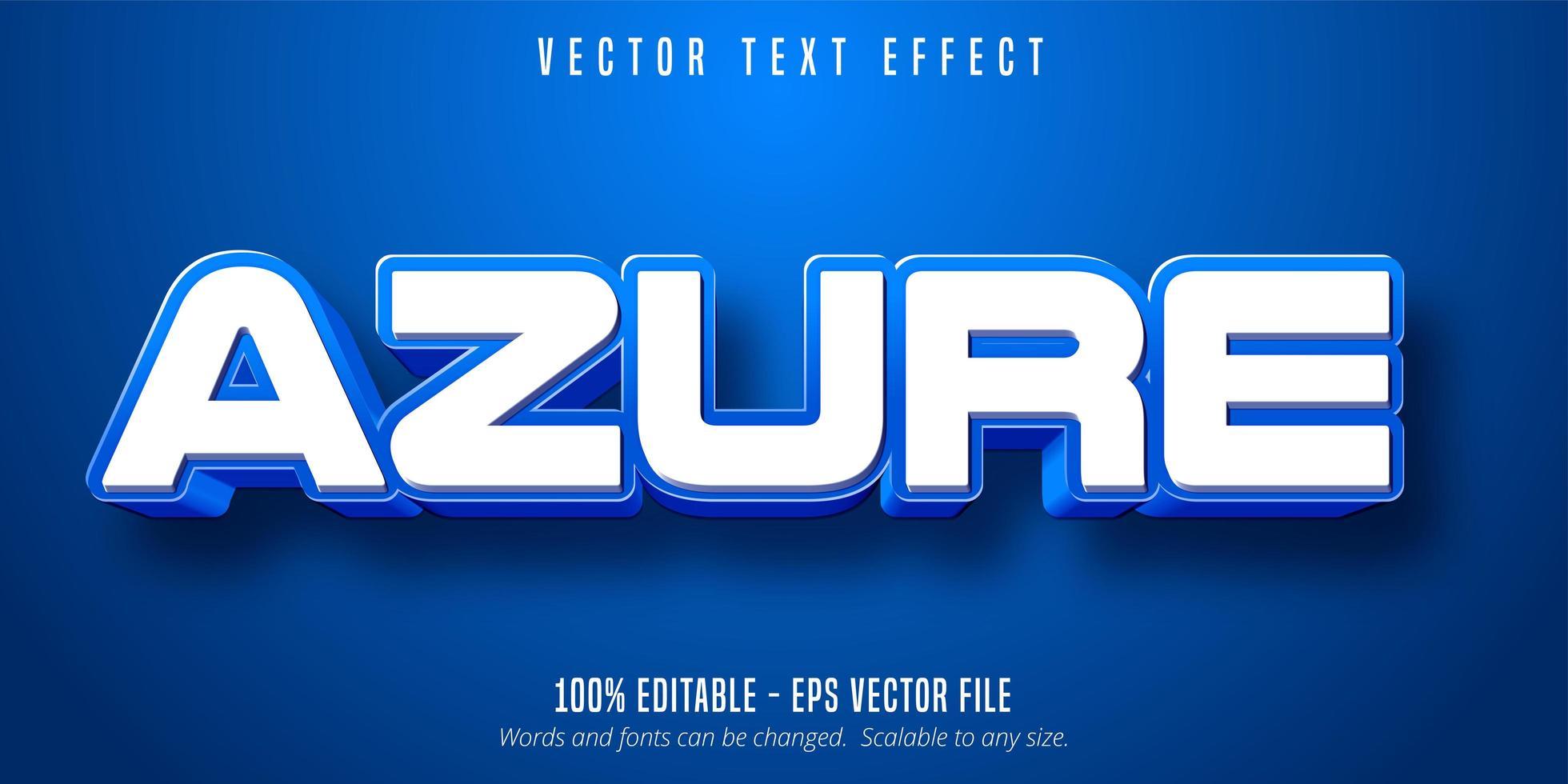 texte azur, effet de texte de couleur bleue vecteur