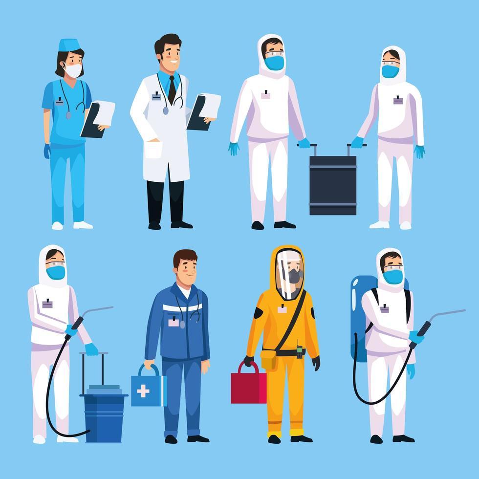 travail d'équipe du personnel médical pour faire face au covid19 vecteur