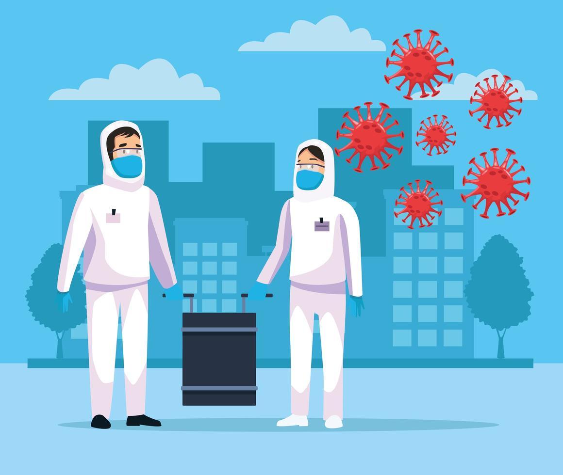 personnes de nettoyage biohazard avec covid19 vecteur