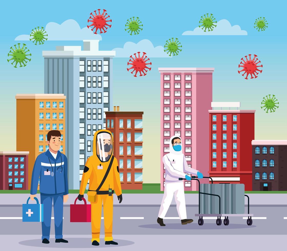 personnes de nettoyage biohazard avec ambulancier et covid vecteur