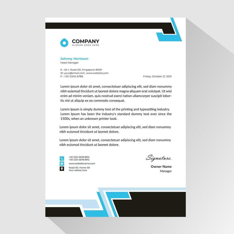 papier à en-tête d'affaires avec des bordures noires et bleues abstraites vecteur