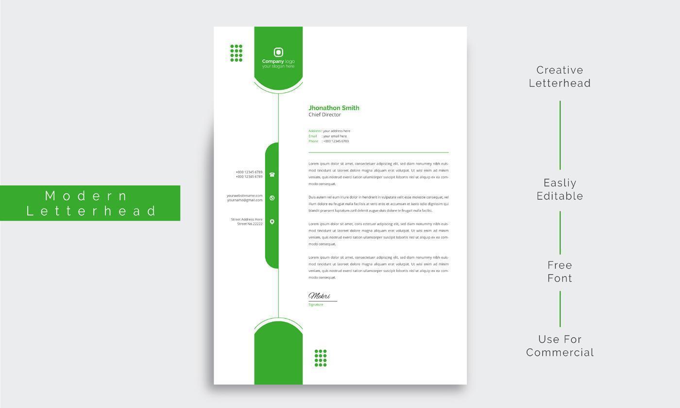 papier à en-tête d'entreprise propre avec des formes vertes arrondies vecteur