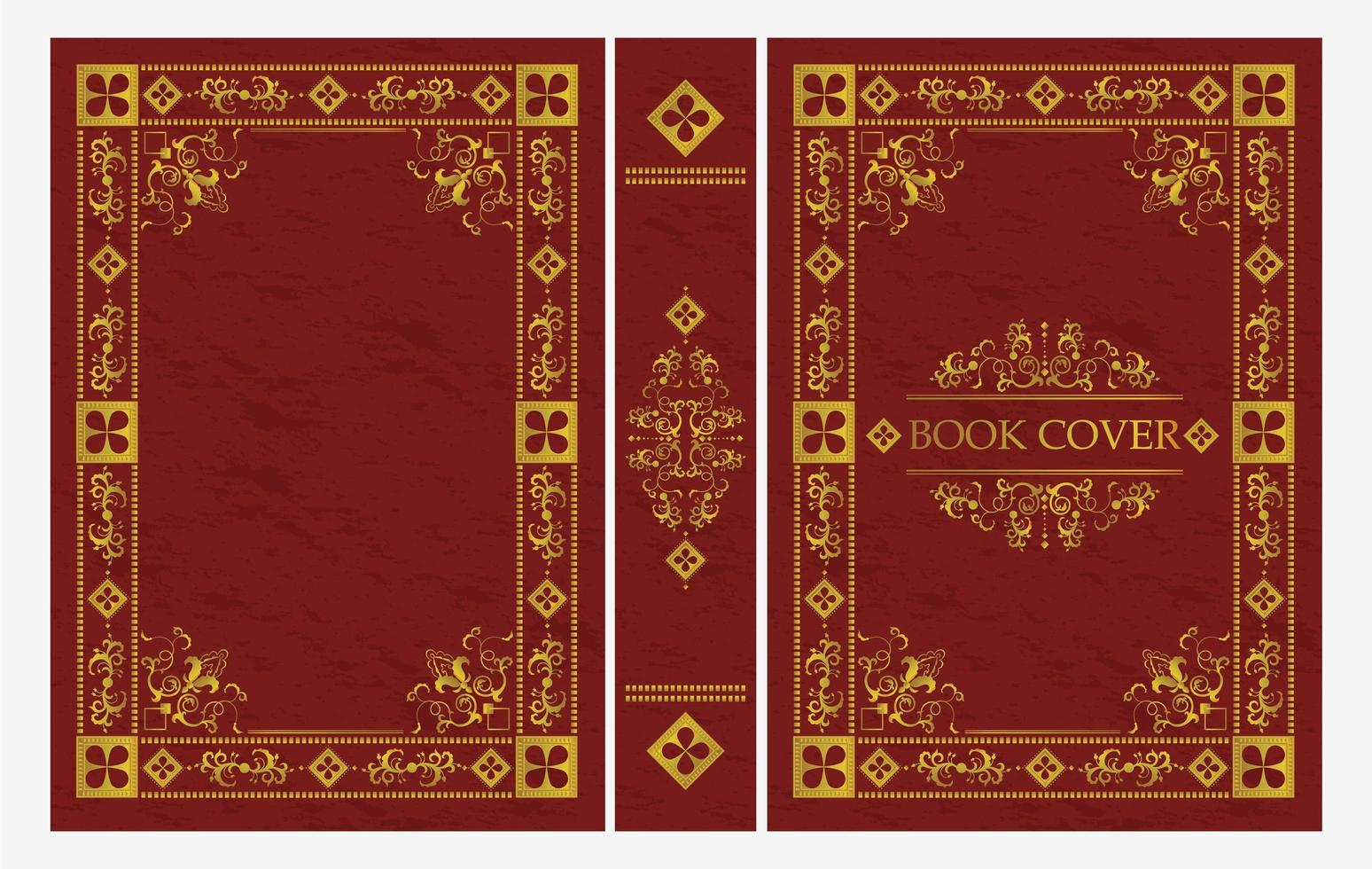 ornement rouge et or de la couverture du livre classique vecteur