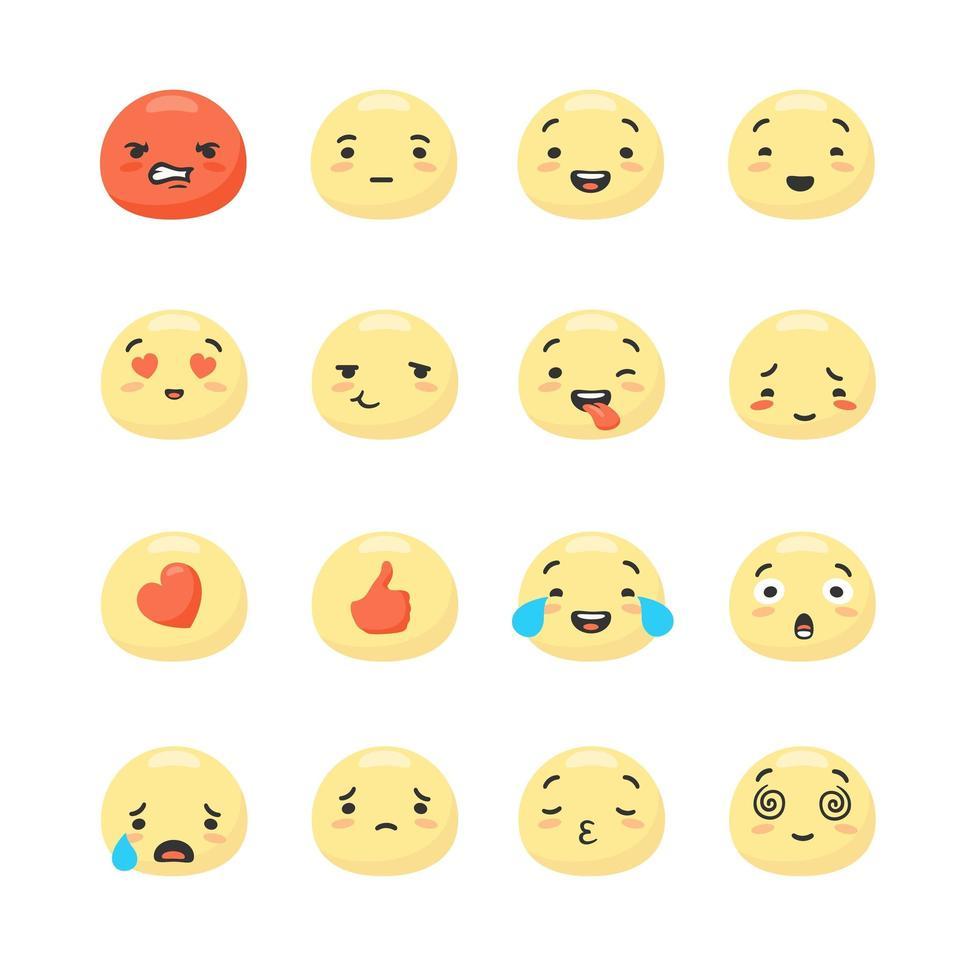 visages souriants jaunes exprimant des émotions positives et négatives vecteur