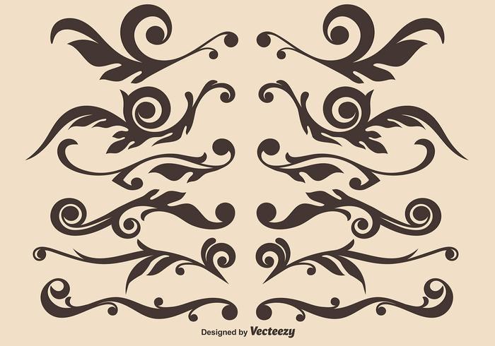 Ensemble vectoriel de diviseurs ornementaux dessinés à la main