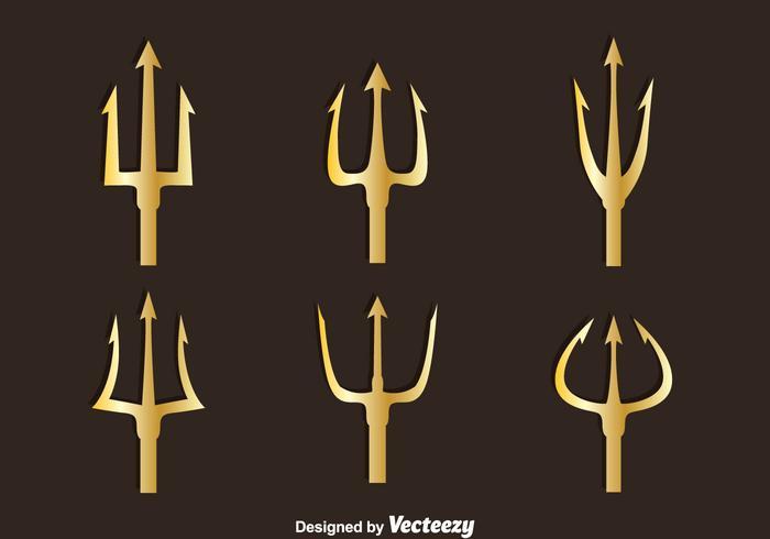 Vector de symboles d'or Poseidon
