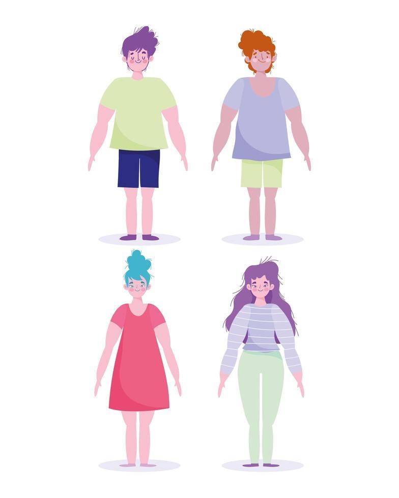 jeu d'icônes de personnages de dessin animé complet du corps vecteur
