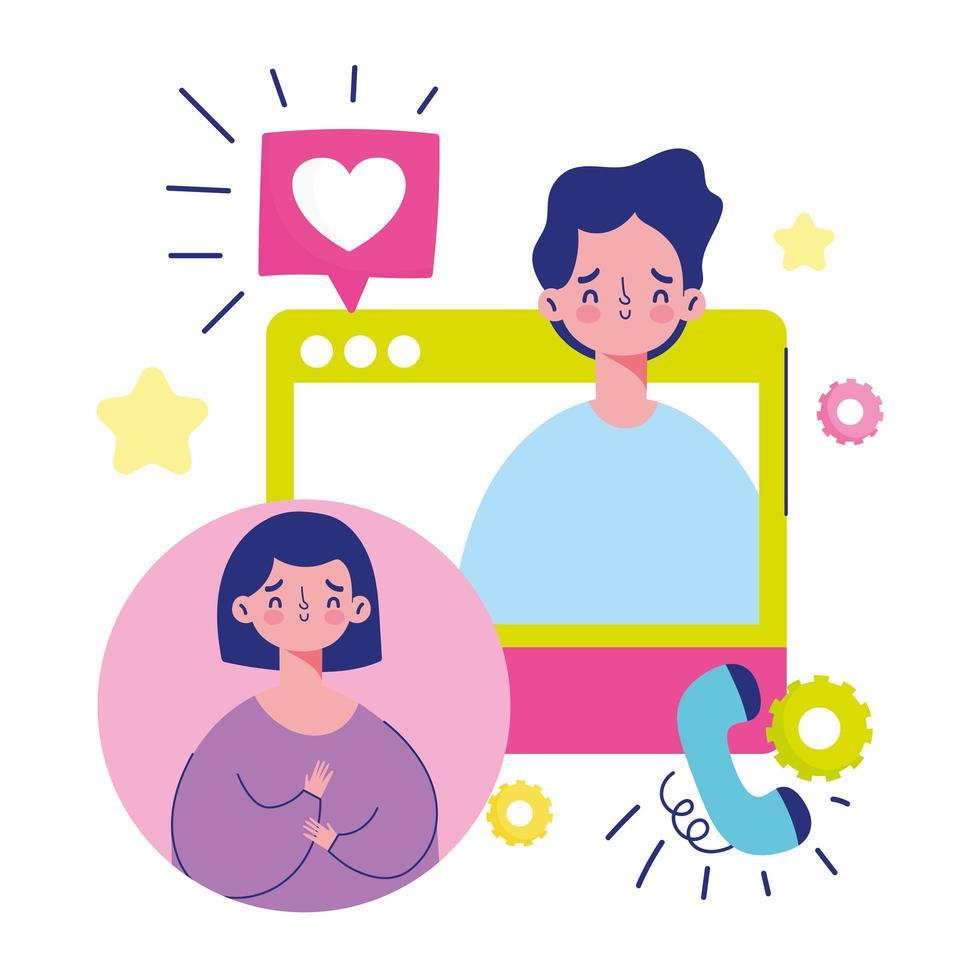 jeune couple sur un appel vidéo vecteur