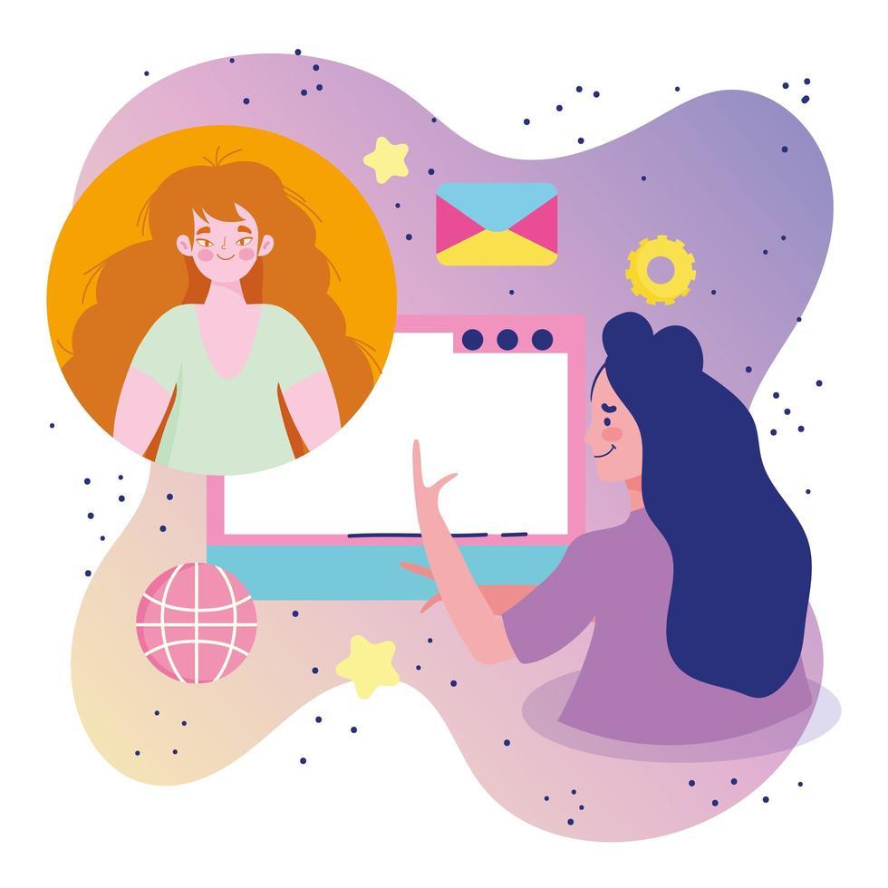 jeunes femmes sur une conférence en ligne vecteur