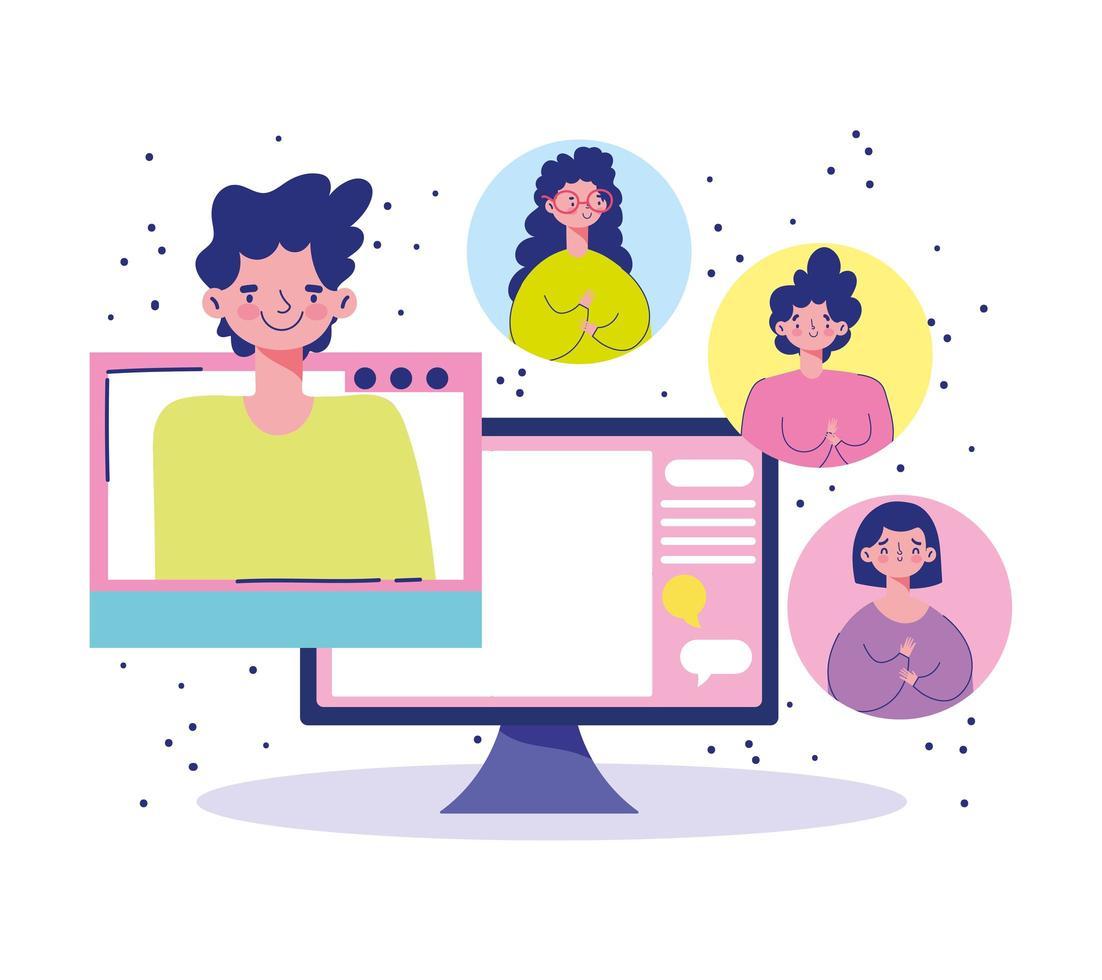 personnes se réunissant en ligne sur l'ordinateur vecteur