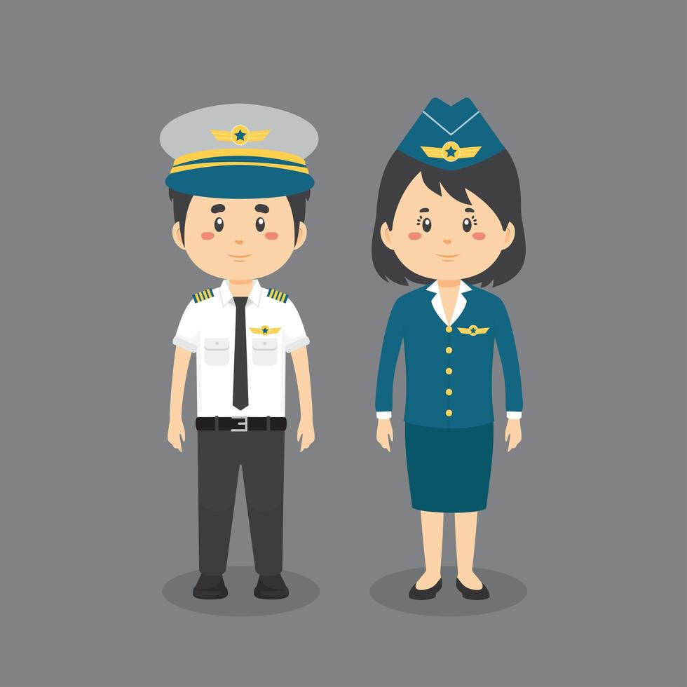 personnage en uniforme de pilote vecteur