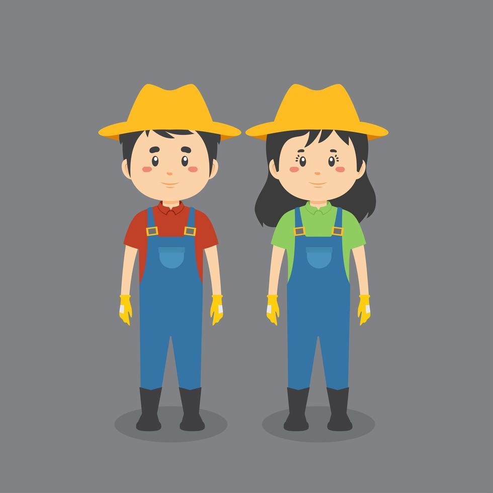 couple en uniforme de fermier vecteur