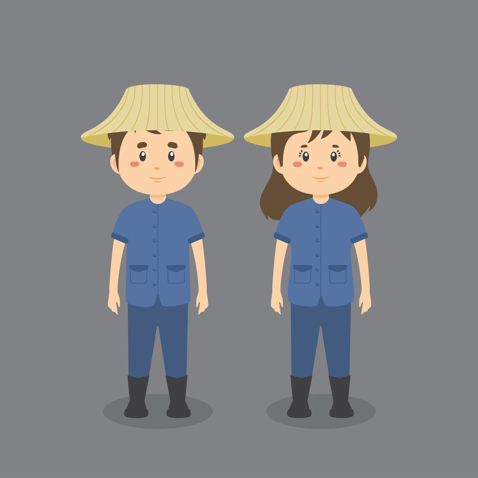 personnage portant une tenue thaïlandaise vecteur