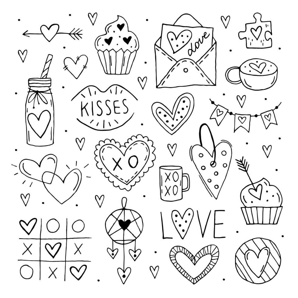 Saint-Valentin grand ensemble de doodle d'éléments, clipart. vecteur