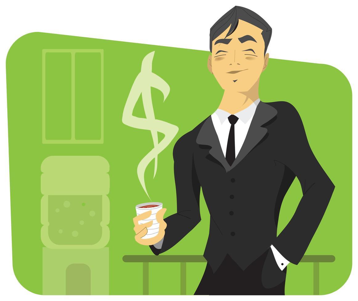 homme d & # 39; affaires prospère avec tasse à café et signe dollar vecteur