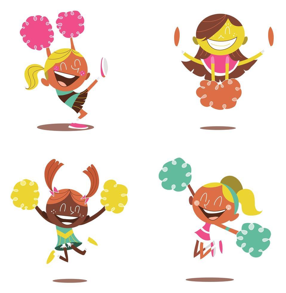 quatre jeunes pom-pom girls souriantes acclamant vecteur