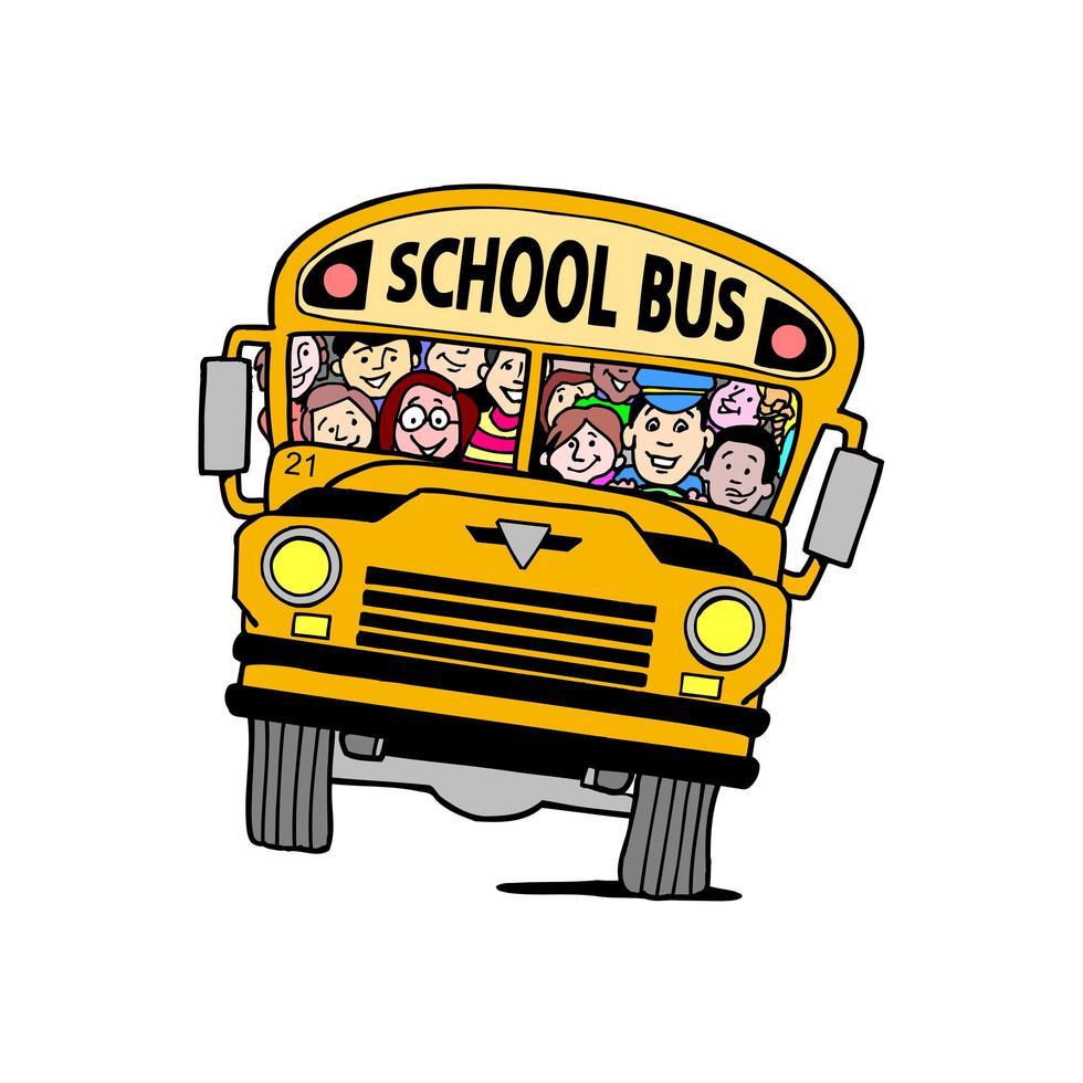 autobus scolaire avec enfants vecteur