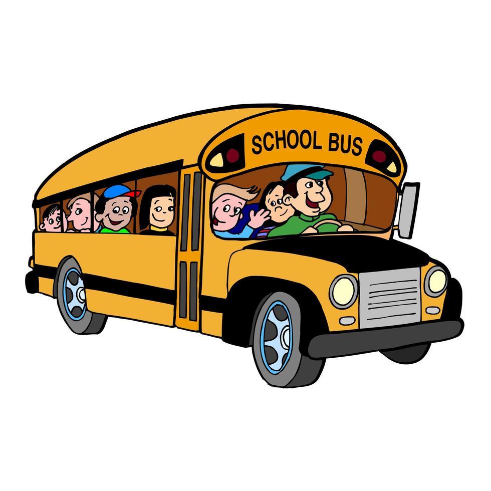 vue latérale du bus scolaire avec enfants vecteur