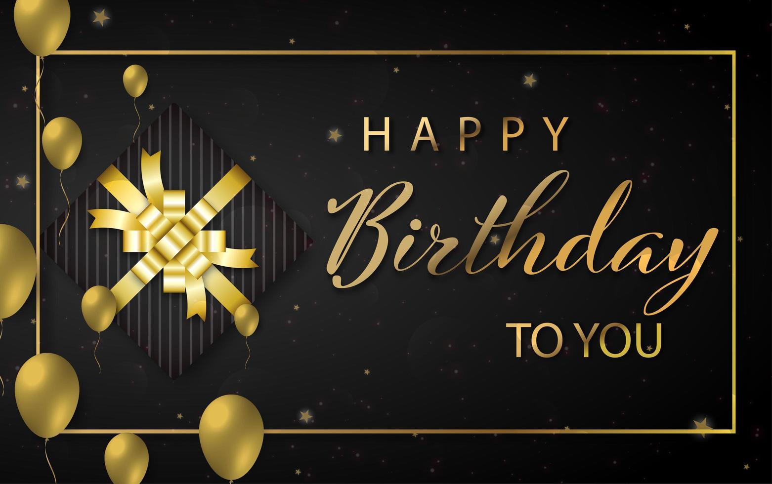 conception de joyeux anniversaire avec des ballons de couleur dorée et une boîte cadeau vecteur
