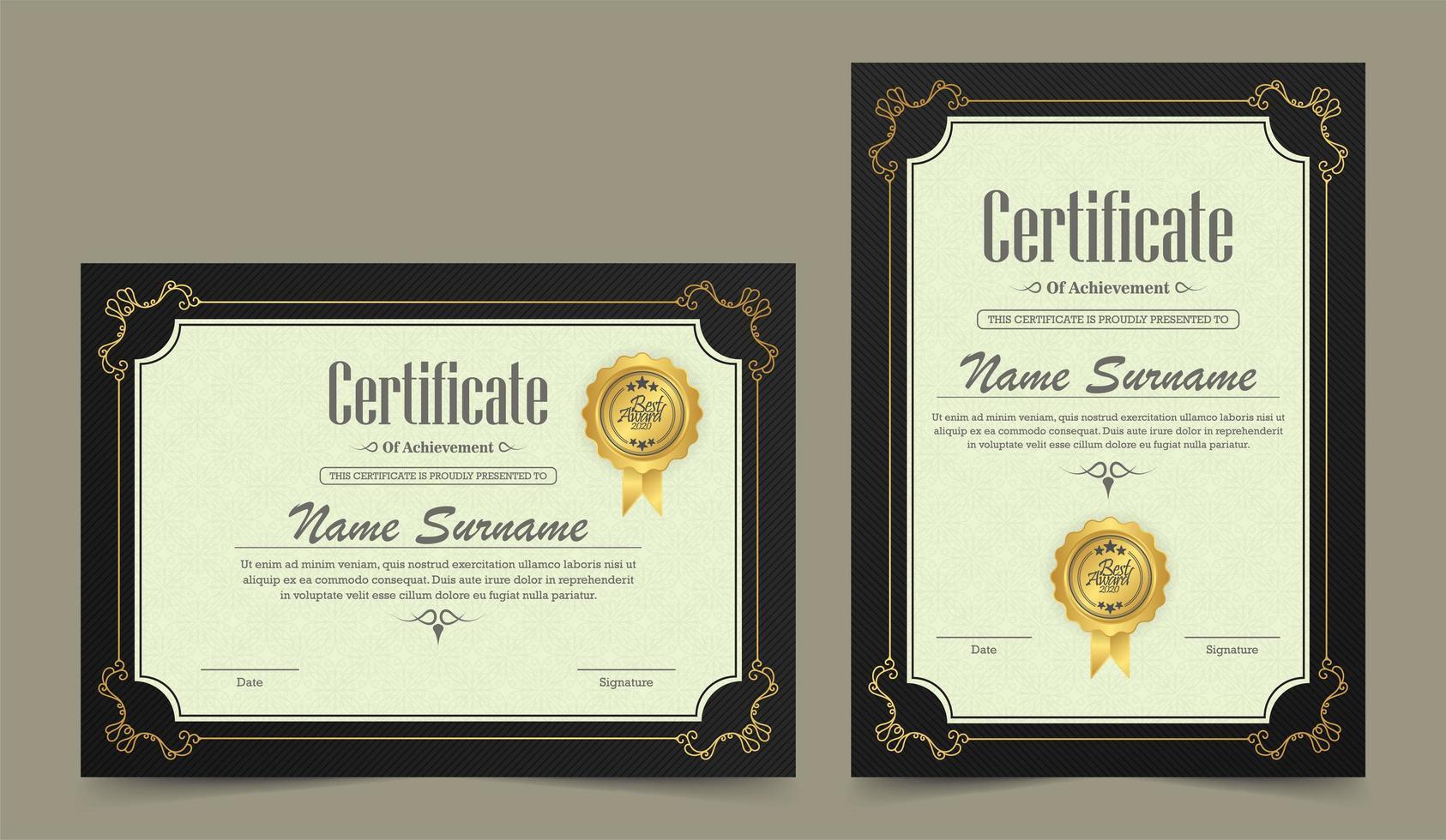 ensemble de certificat de réussite horizontal et vertical vintage vecteur