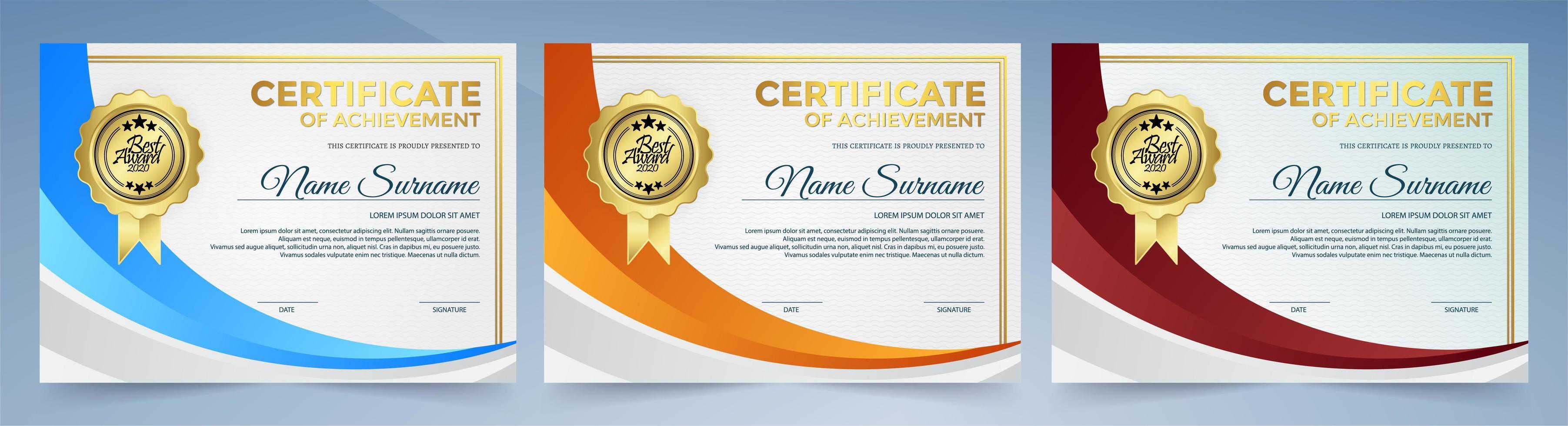 certificat de jeu avec forme de courbe orange, bleue et rouge vecteur