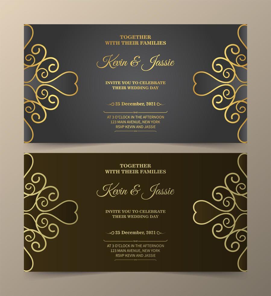 invitation de luxe gris et marron sertie de tourbillons dorés vecteur