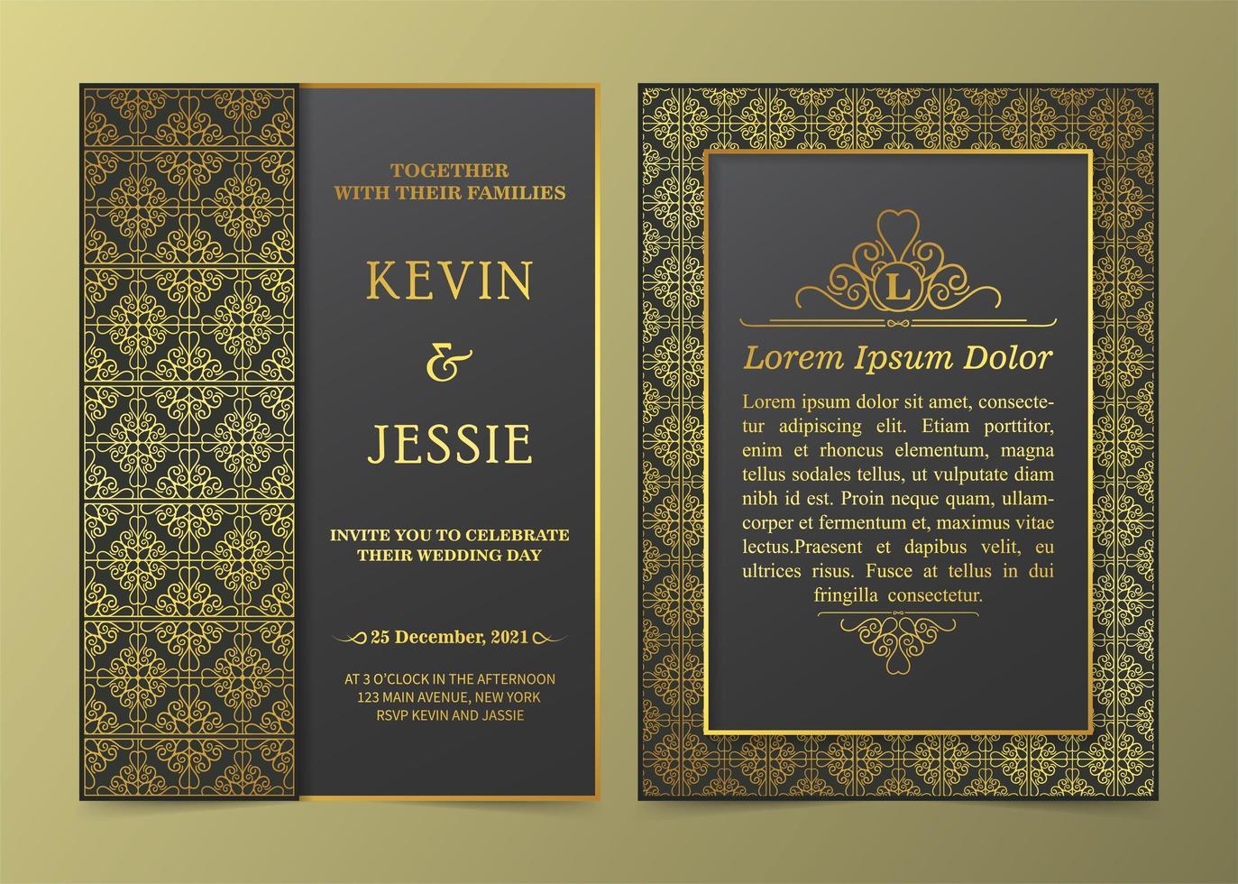 ensemble d'invitation de cadre doré à motifs de luxe vecteur