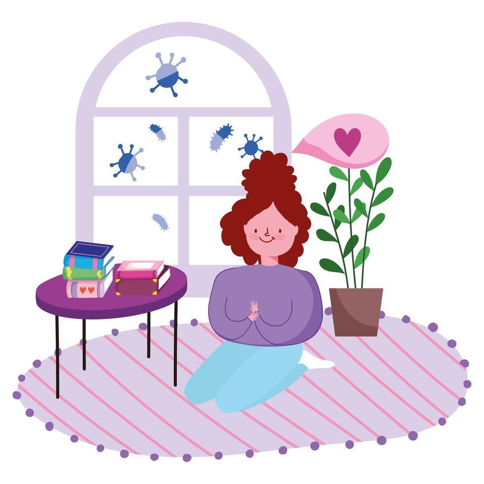 jeune femme agenouillée sur le sol de la chambre avec des livres vecteur