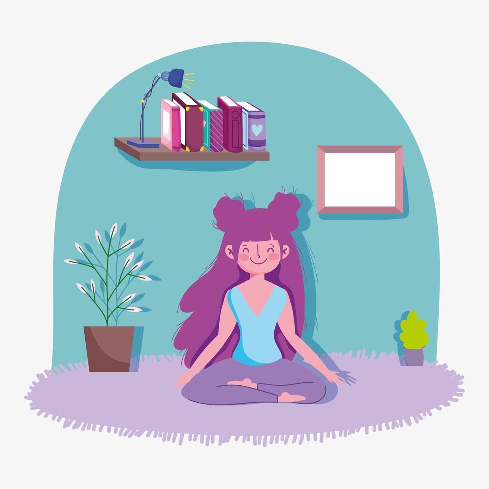 fille heureuse pratiquant le yoga à la maison vecteur