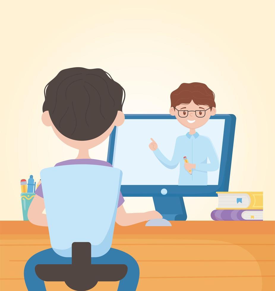 jeune homme étudiant en ligne avec enseignant sur écran d'ordinateur vecteur