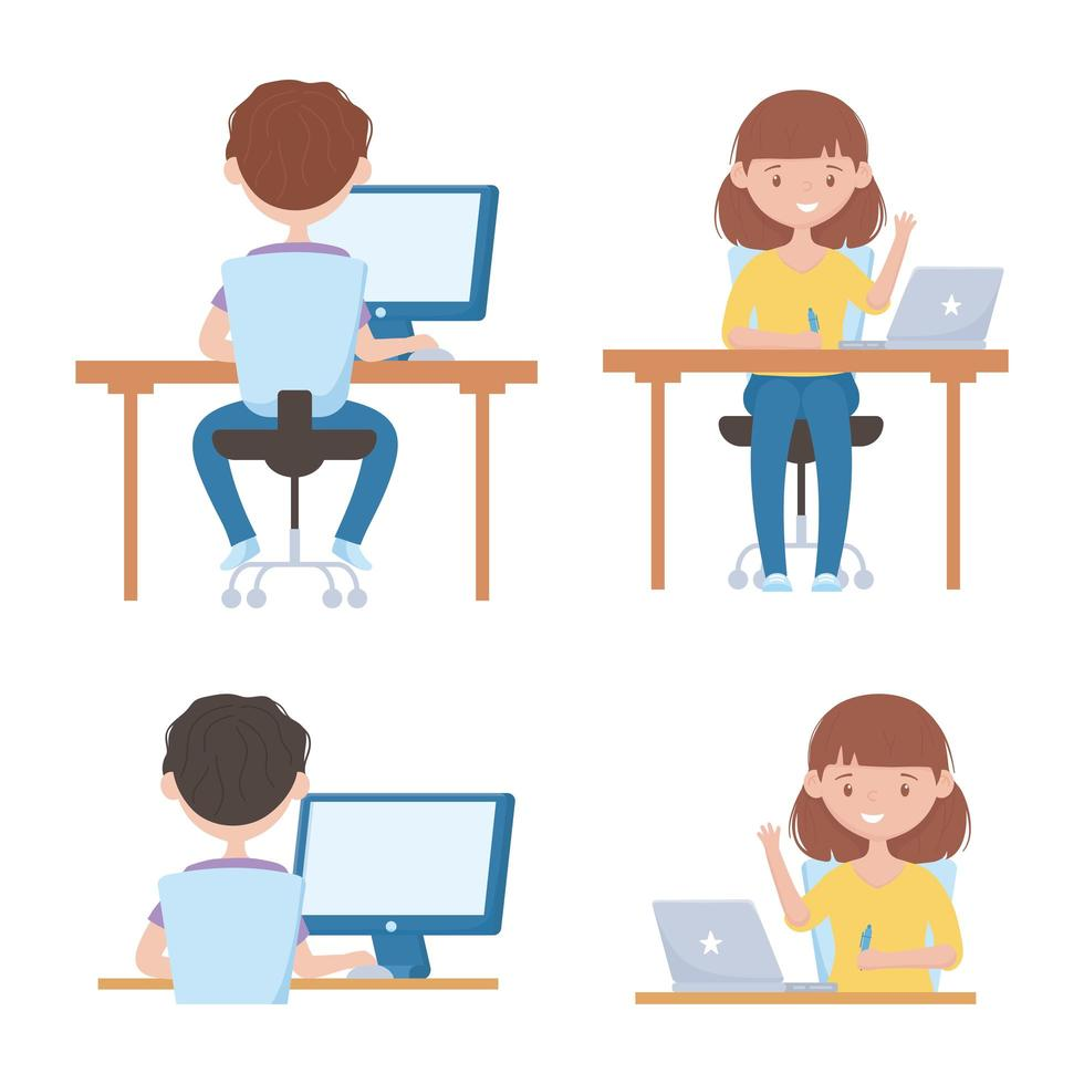 éducation en ligne avec des étudiants sur des appareils vecteur