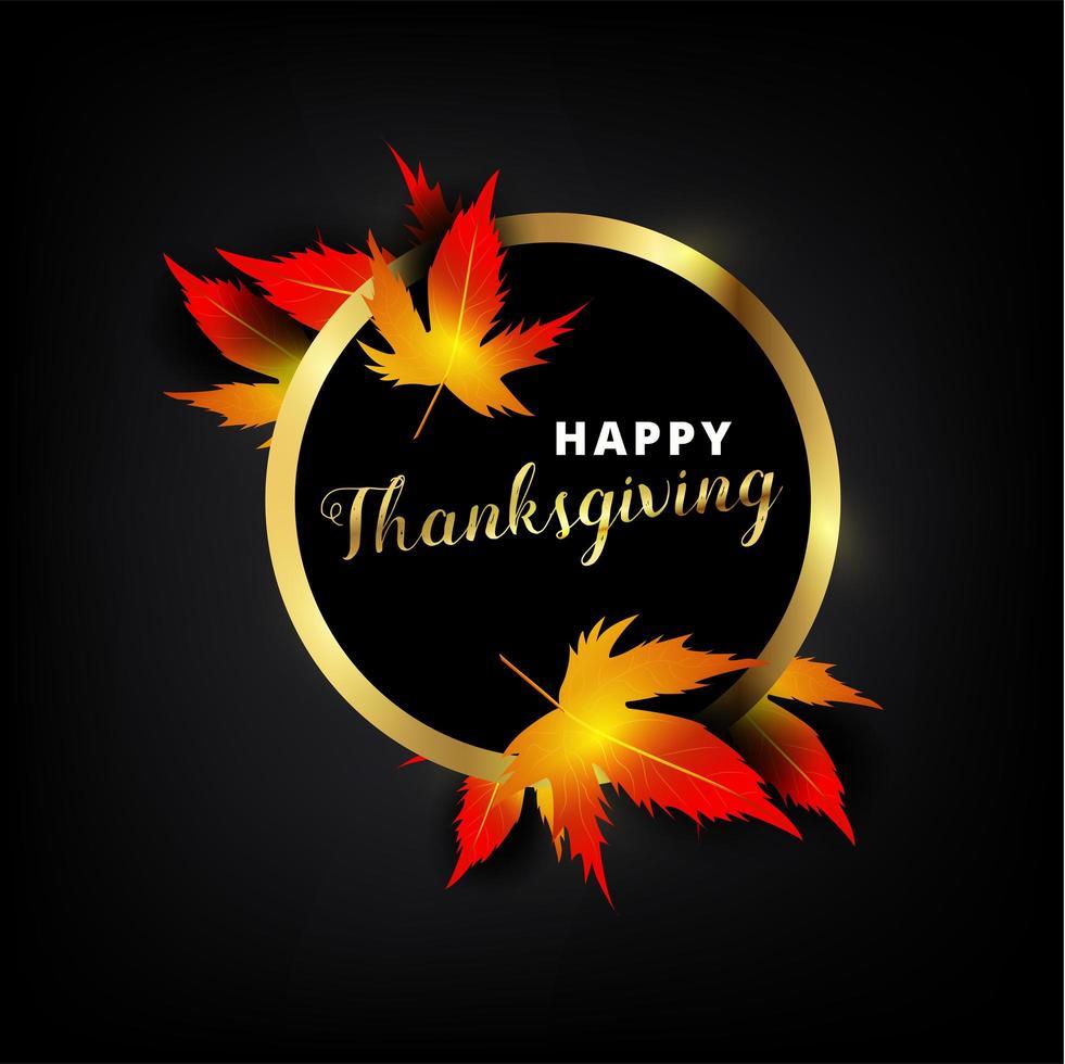 texte de Thanksgiving heureux dans un cadre métallique doré avec des feuilles vecteur