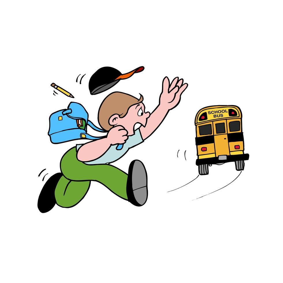 étudiant qui court pour attraper un bus scolaire vecteur