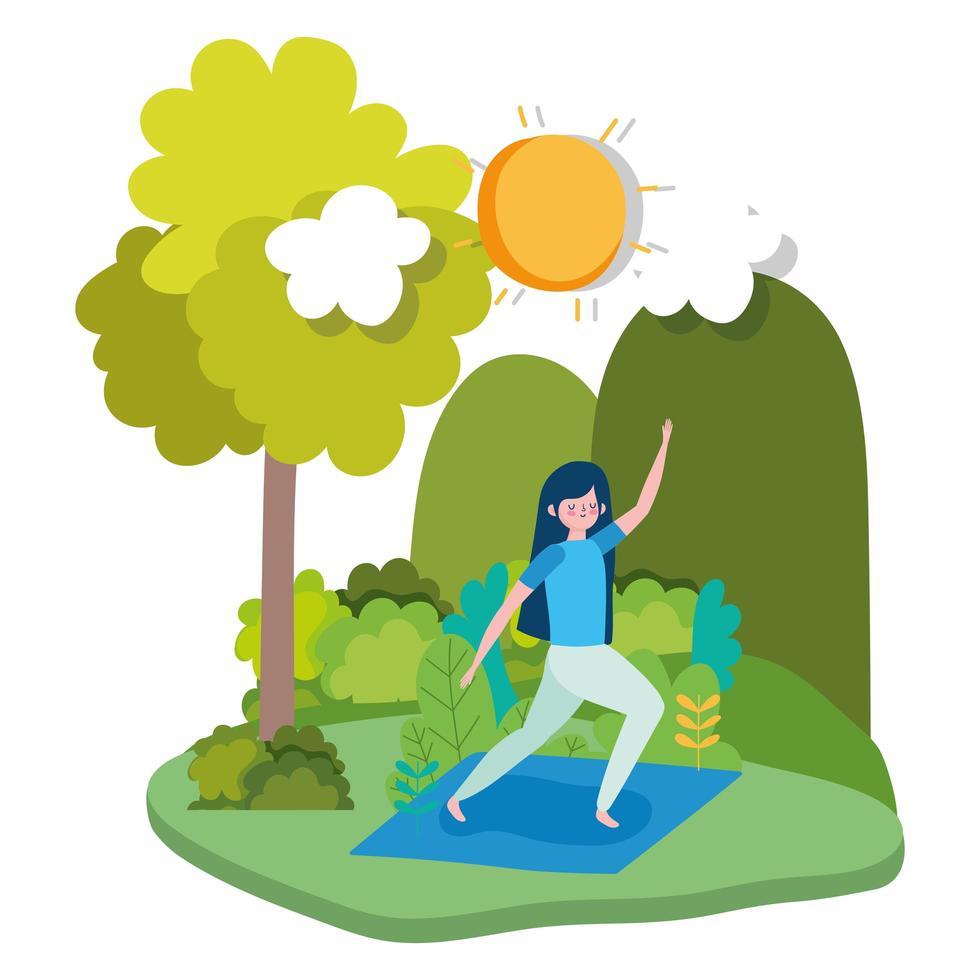 jeune femme, faire, yoga, dehors vecteur