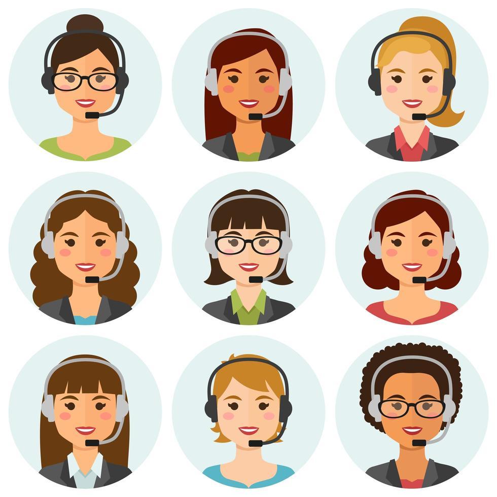 avatars d'agents de centre d'appels de femmes vecteur