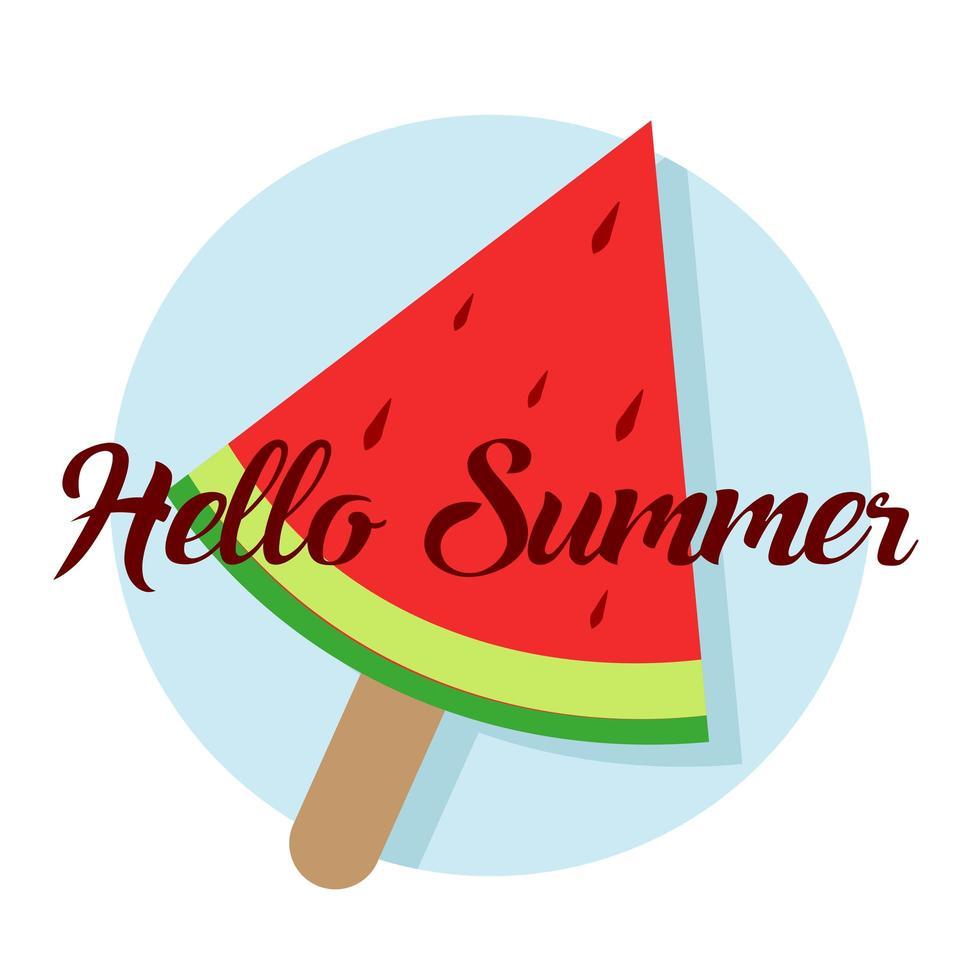 bonjour texte d'été et pastèque vecteur