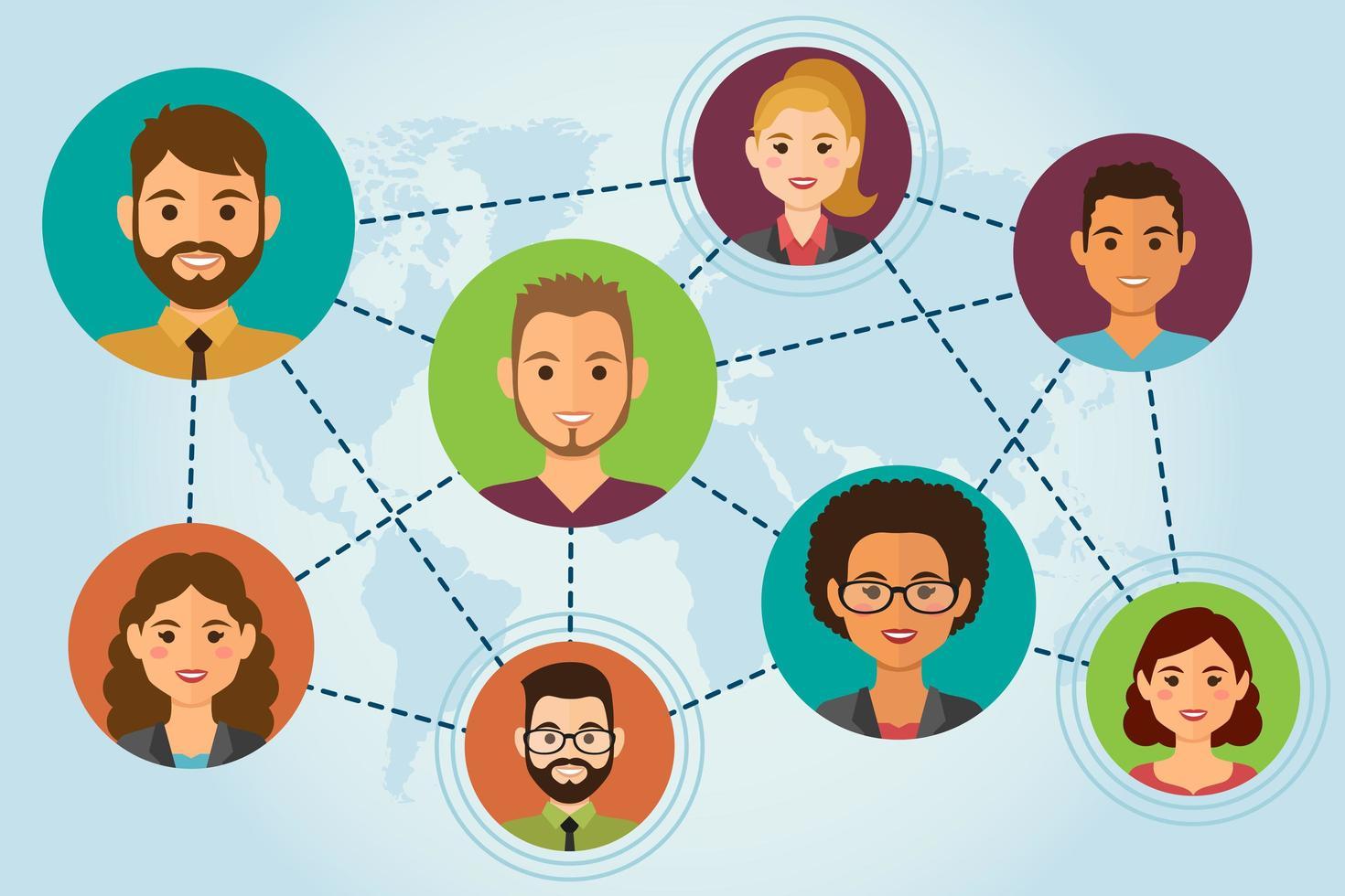 connecter les avatars des gens vecteur