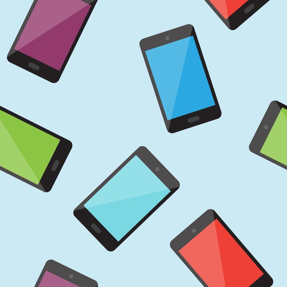 modèle sans couture de smartphone coloré vecteur