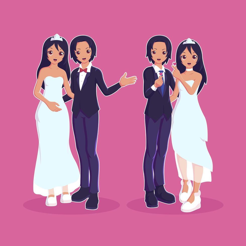 mariage couple marié personnages vecteur