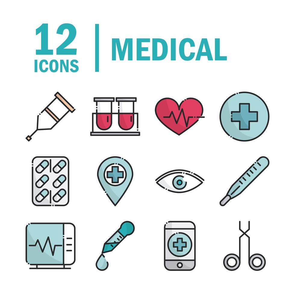 pack de ligne de matériel médical et de soins de santé et icônes de remplissage vecteur
