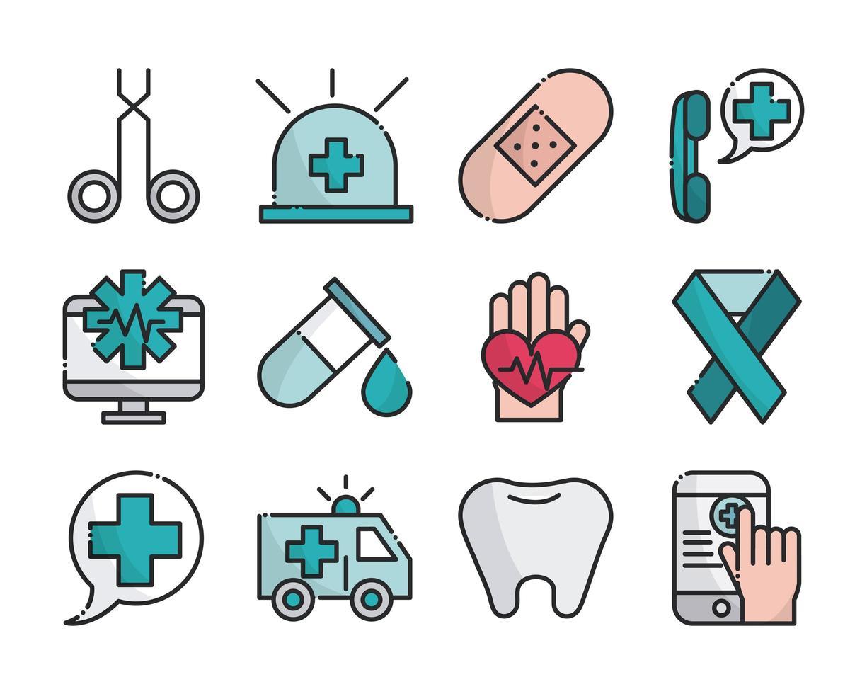 collection de ligne de matériel médical et de soins de santé et icônes de remplissage vecteur