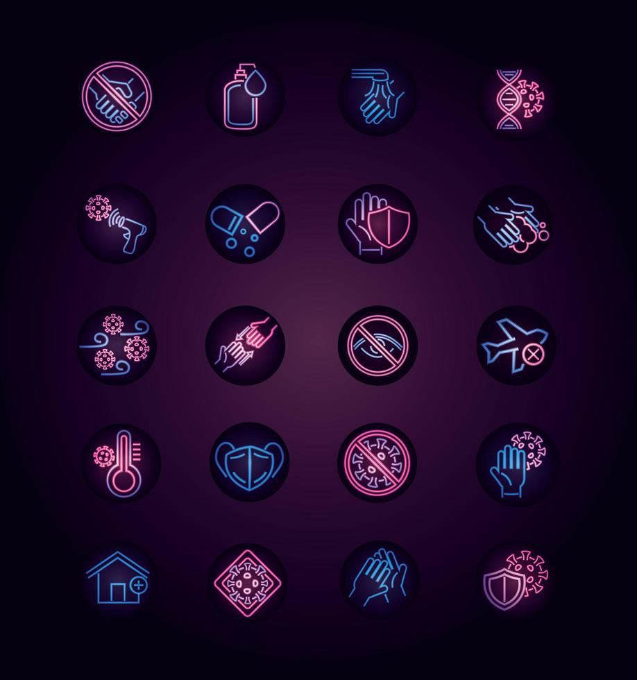 collection d'icônes de style néon maladie virale sur fond noir vecteur