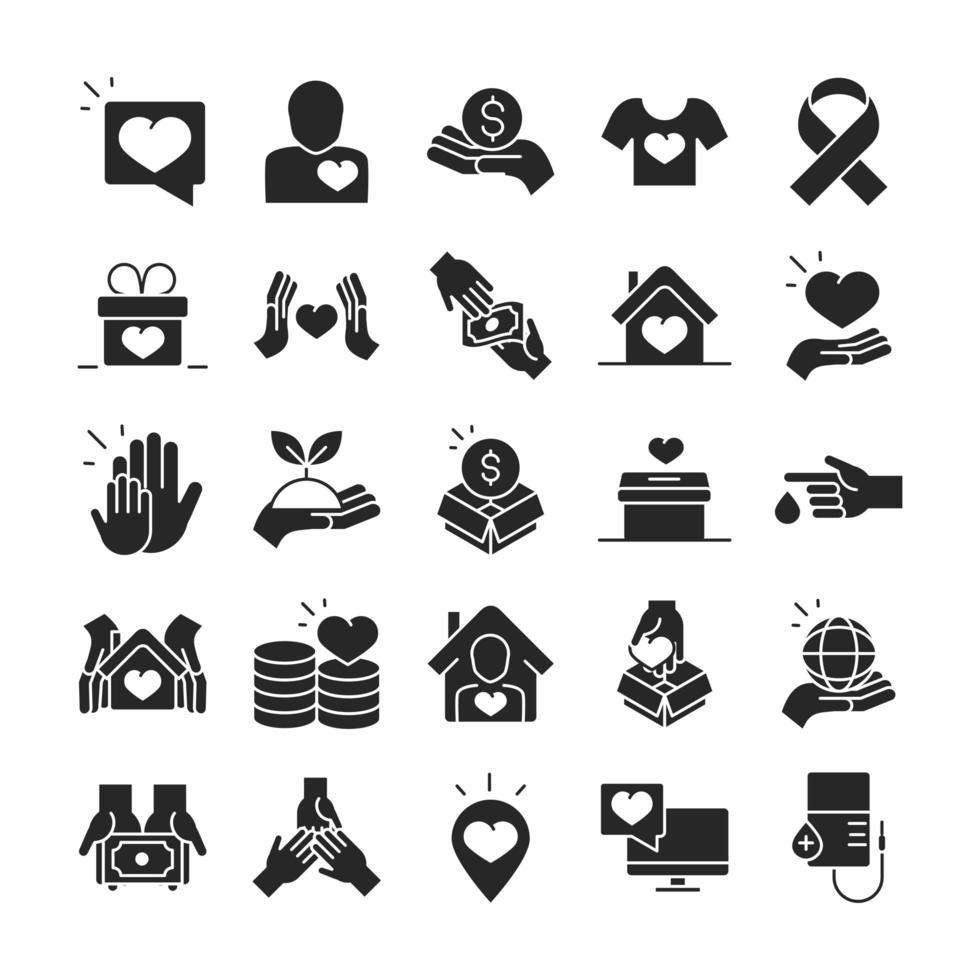 don pour la collection d'icônes silhouette charité et assistance sociale vecteur