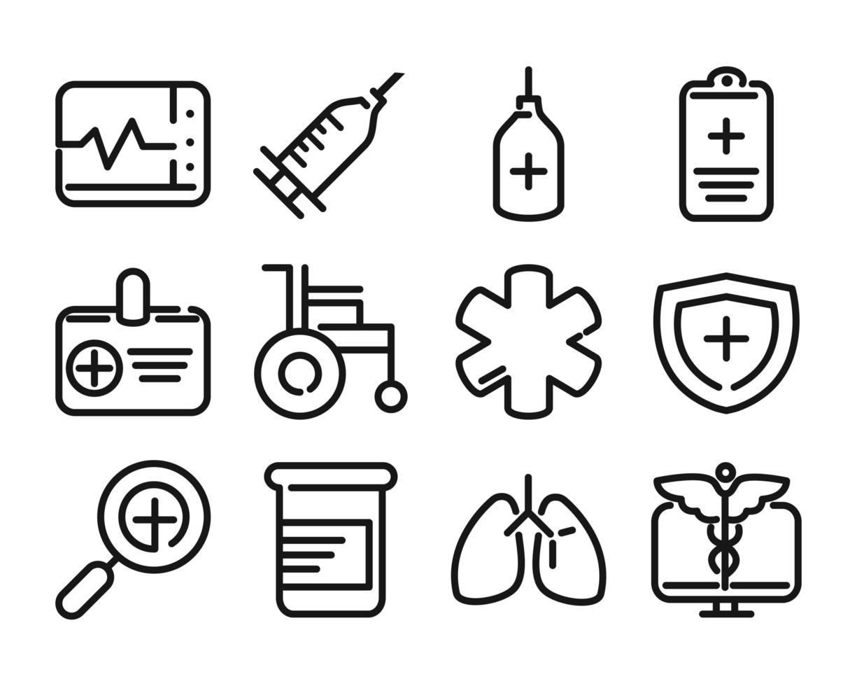 pack d'icônes de pictogramme de ligne de soins de santé vecteur