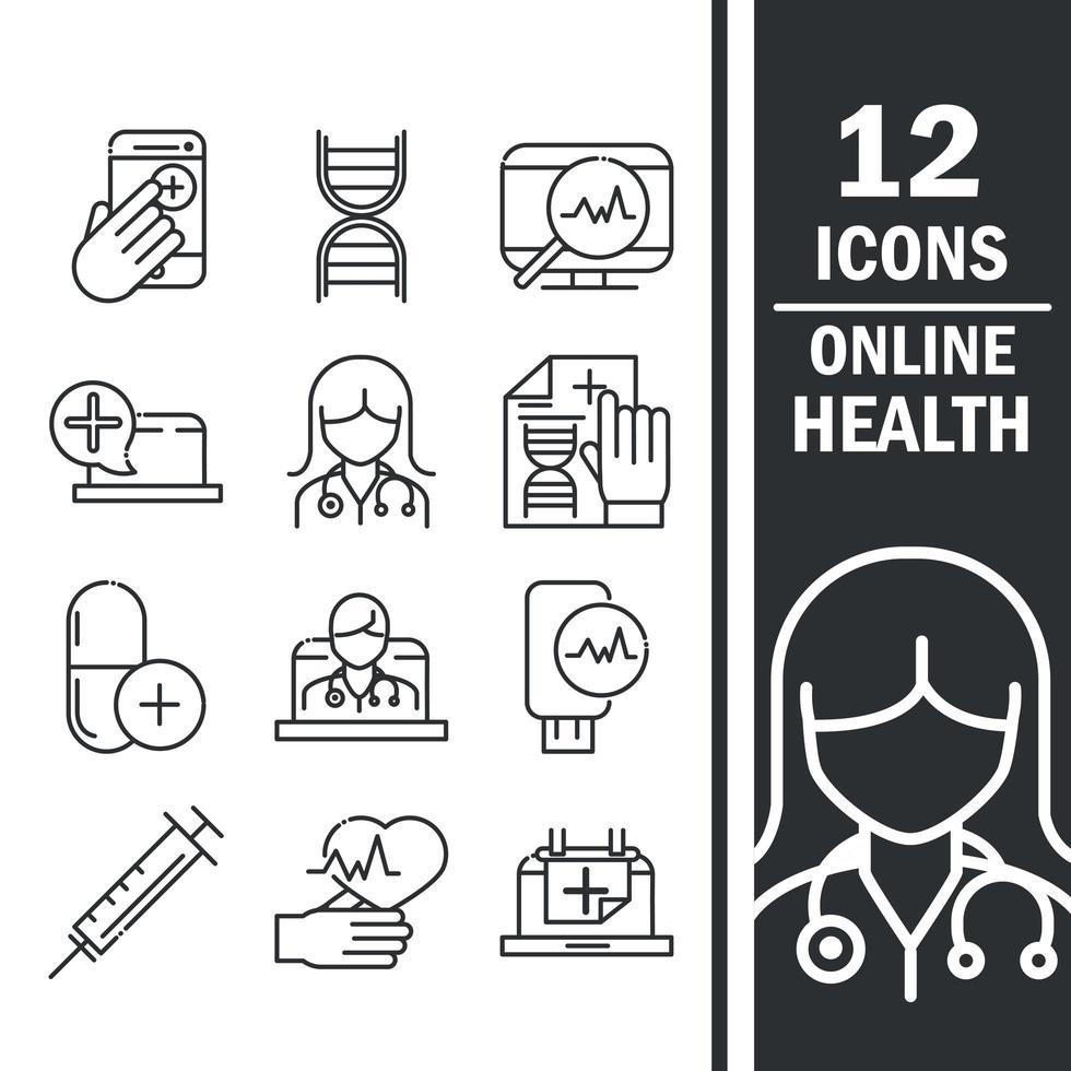 jeu d'icônes de santé et d'assistance médicale en ligne vecteur