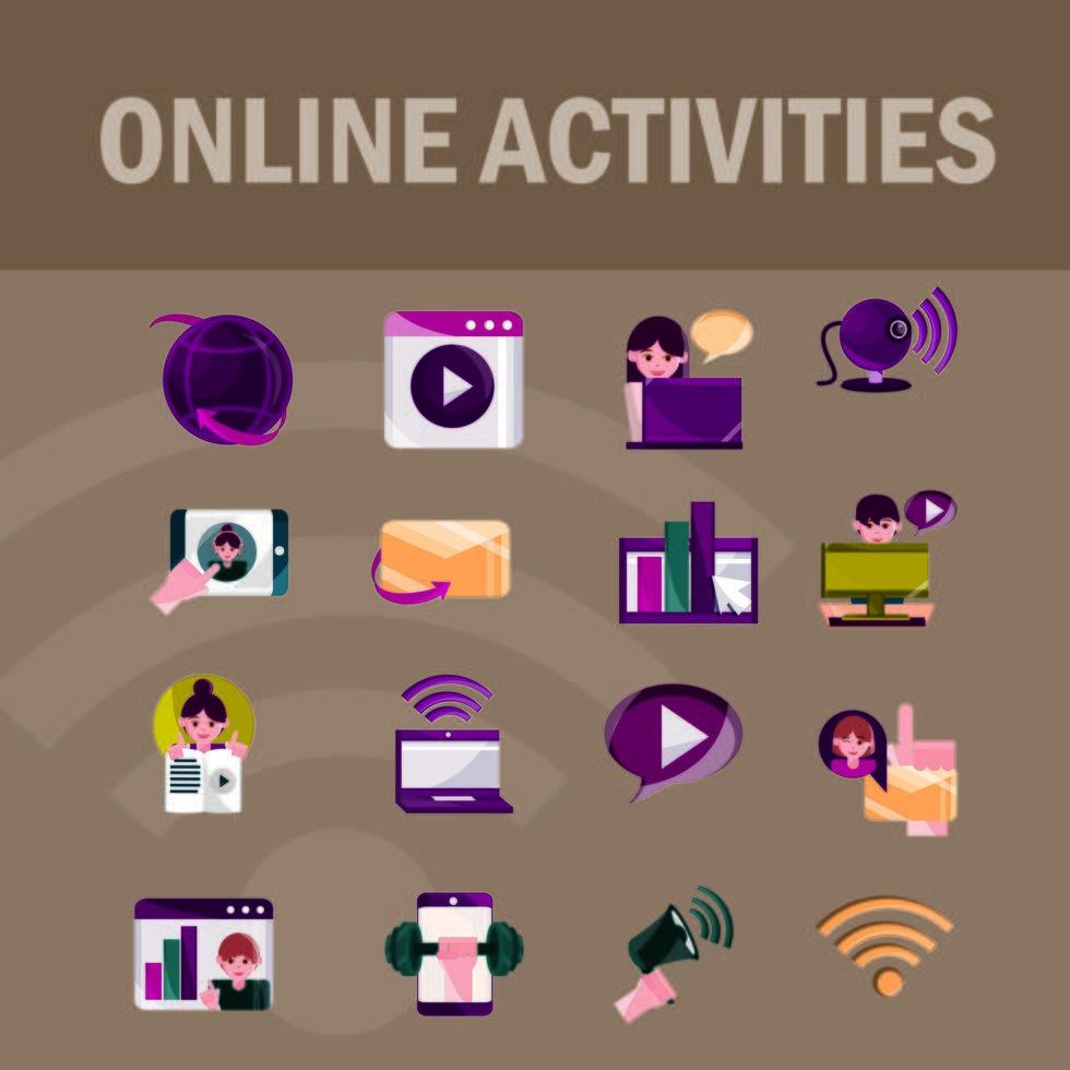 activités en ligne et jeu d'icônes de communication numérique vecteur