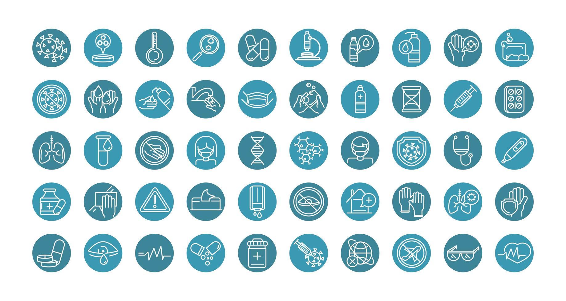 collection d'icônes de ligne de bloc de prévention des coronavirus vecteur
